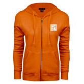 ENZA Ladies Orange Fleece Full Zip Hoodie-KCBS