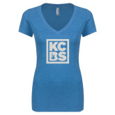 Next Level Ladies Vintage Turquoise Tri Blend V Neck Tee-KCBS Glitter
