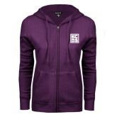 ENZA Ladies Purple Fleece Full Zip Hoodie-KCBS