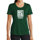 Ladies Syntrel Performance Dark Green Tee-Kansas City Barbeque Society
