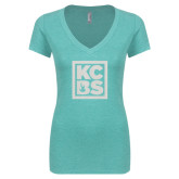 Next Level Ladies Vintage Tahiti Blue Tri Blend V Neck Tee-KCBS Glitter
