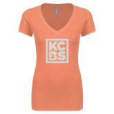 Next Level Ladies Vintage Light Orange Tri Blend V-Neck Tee-KCBS