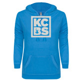 ENZA Ladies Pacific Blue V Notch Raw Edge Fleece Hoodie-KCBS