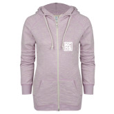 ENZA Ladies Hot Violet Marled Full Zip Hoodie-KCBS