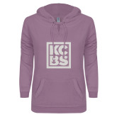 ENZA Ladies Hot Violet V Notch Raw Edge Fleece Hoodie-KCBS