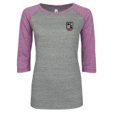 ENZA Ladies Athletic Heather/Violet Vintage Baseball Tee-Kansas City Barbeque Society
