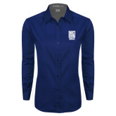 Ladies Navy Twill Button Down Long Sleeve-Kansas City Barbeque Society