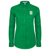 Ladies Kelly Green Twill Button Down Long Sleeve-Kansas City Barbeque Society