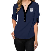 Ladies Posh Navy 3/4 Sleeve Blouse-Kansas City Barbeque Society