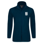 Ladies Fleece Full Zip Navy Jacket-Kansas City Barbeque Society