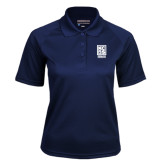Ladies Navy Textured Saddle Shoulder Polo-Kansas City Barbeque Society
