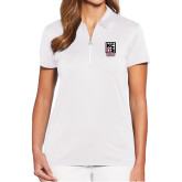 Ladies Callaway Tulip Sleeve White Zip Polo-Kansas City Barbeque Society