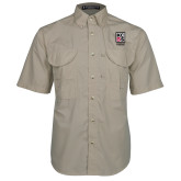 Khaki Short Sleeve Performance Fishing Shirt-KCBS Certified Barbecue Judge