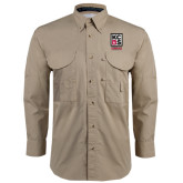 Khaki Long Sleeve Performance Fishing Shirt-Kansas City Barbeque Society