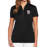 Ladies Callaway Tulip Sleeve Black Zip Polo-Kansas City Barbeque Society