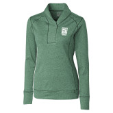 Ladies Cutter & Buck Shoreline Green 1/2 Zip-Kansas City Barbeque Society