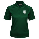 Ladies Dark Green Textured Saddle Shoulder Polo-Kansas City Barbeque Society
