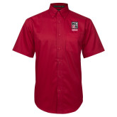 Red Twill Button Down Short Sleeve-Kansas City Barbeque Society