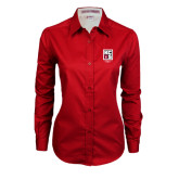 Ladies Red Twill Button Down Long Sleeve-KCBS Contest Rep
