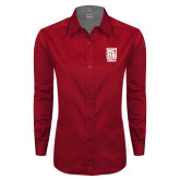 Ladies Red Twill Button Down Long Sleeve-Kansas City Barbeque Society