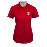 Ladies Red Twill Button Up Short Sleeve-KCBS Contest Rep
