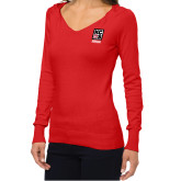 Ladies Fuse Red V Neck Sweater-Kansas City Barbeque Society