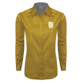 Ladies Gold Twill Button Down Long Sleeve-Kansas City Barbeque Society