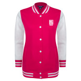 Ladies Pink Raspberry/White Fleece Letterman Jacket-Kansas City Barbeque Society