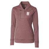 Ladies Cutter & Buck Shoreline Maroon 1/2 Zip-Kansas City Barbeque Society