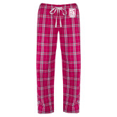 Ladies Dark Fuchsia/White Flannel Pajama Pant-Kansas City Barbeque Society