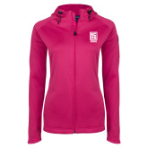 Ladies Tech Fleece Full Zip Hot Pink Hooded Jacket-Kansas City Barbeque Society