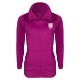 Ladies Sport Wick Stretch Full Zip Deep Berry Jacket-Kansas City Barbeque Society