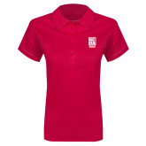 Ladies Pink Raspberry Contrast Stitch Micropique Sport Wick Polo-Kansas City Barbeque Society