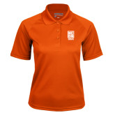 Ladies Orange Textured Saddle Shoulder Polo-Kansas City Barbeque Society