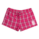 Ladies Dark Fuchsia/White Juniors Flannel Plaid Boxer-Kansas City Barbeque Society