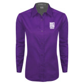 Ladies Purple Twill Button Down Long Sleeve-Kansas City Barbeque Society
