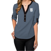 Ladies Posh Slate 3/4 Sleeve Blouse-Kansas City Barbeque Society