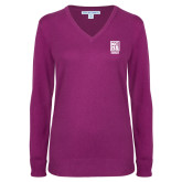 Ladies Deep Berry V Neck Sweater-Kansas City Barbeque Society