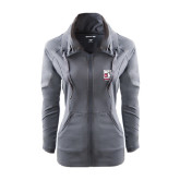Ladies Sport Wick Stretch Full Zip Charcoal Jacket-Kansas City Barbeque Society