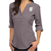 Ladies Glam Pewter 3/4 Sleeve Blouse-Kansas City Barbeque Society