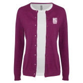 Ladies Deep Berry Cardigan-Kansas City Barbeque Society