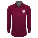 Ladies Maroon Twill Button Down Long Sleeve-Kansas City Barbeque Society
