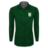 Ladies Dark Green Twill Button Down Long Sleeve-Kansas City Barbeque Society