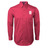 Tropical Pink Twill Button Down Long Sleeve-Kansas City Barbeque Society