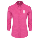 Ladies Tropical Pink Long Sleeve Twill Shirt-Kansas City Barbeque Society