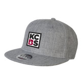 Heather Grey Wool Blend Flat Bill Snapback Hat-KCBS