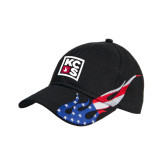 Black US Flag Flame Cotton Twill Structured Hat-KCBS
