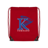 Red Drawstring Backpack-K Tornado w/Tornado