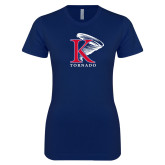 Next Level Ladies SoftStyle Junior Fitted Navy Tee-K Tornado w/Tornado