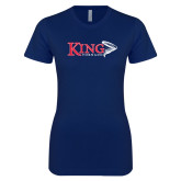 Next Level Ladies SoftStyle Junior Fitted Navy Tee-King Tornado w/Tornado